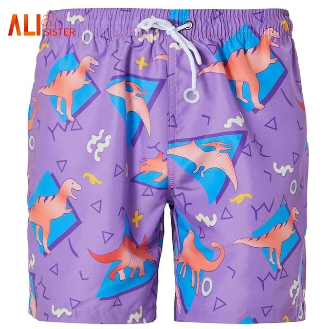 46fdccb9e6bf8 Quick Dry Men s Board Shorts Dinosaur Pattern 3d Printed Cool Purple Shorts  2018 New Summer Casual