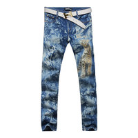 2017 L'hiver Autum De Mode Élégant Mens Designer Imprimé Léopard Motif Jeans Automne Floral Denim Pantalon