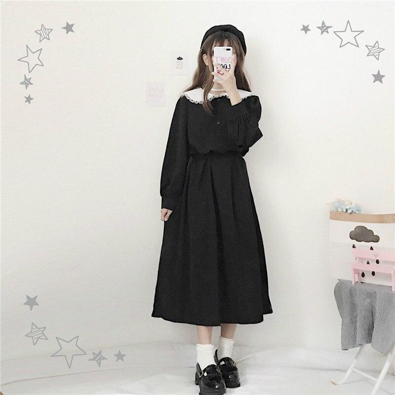 """Женское длинное платье японского стиля """"Harajuku"""",нежное женственное платье с воротником """"Питер Пэн"""",стильное милое платье с длинным рукавом,повседневное платье весна-осень,черного цвета - Цвет: Black"""