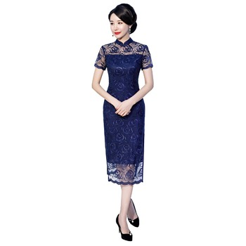 Shanghai Story Oriental Dress Chinese Traditional Dress Cheongsam Flower Embroidery Lace Qipao Chinese Women's Dress 2 Color