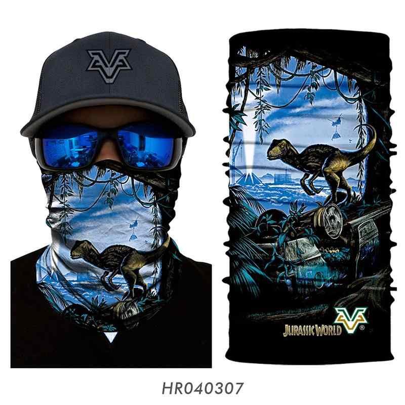3D бесшовная Балаклава мир Юрского периода повязка на голову, маска для лица бандана мотоциклиста Парк Юрского периода головные уборы Пешие прогулки лыжный динозавр шарф