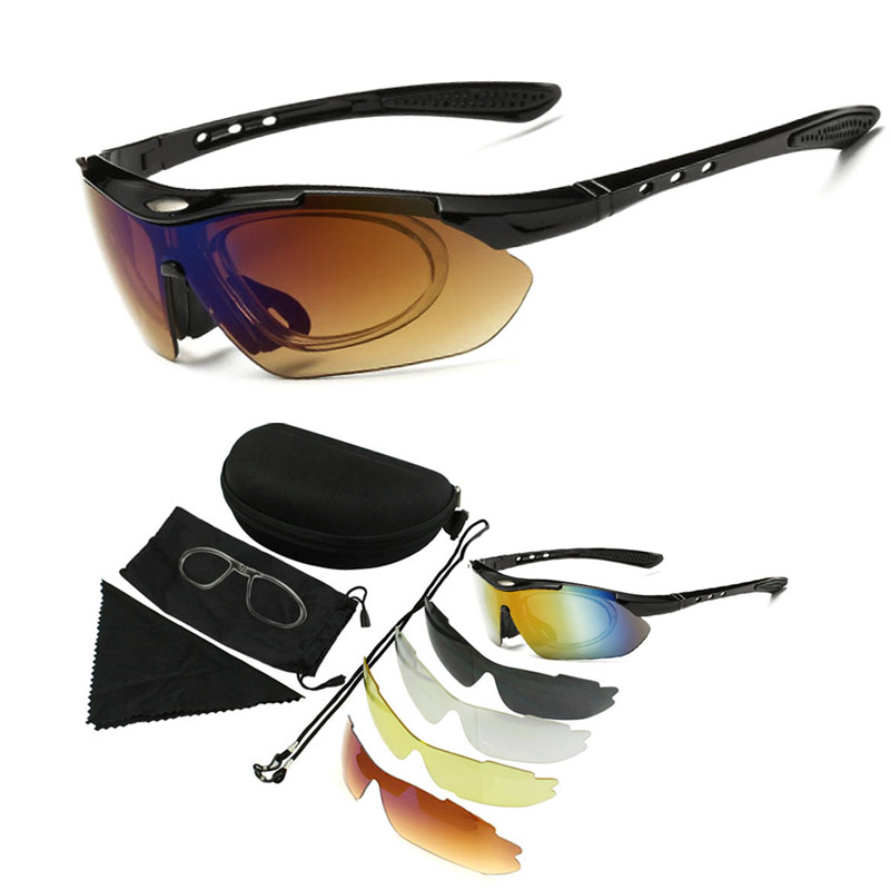 Outdoor Sport  Hiking Eyewear Camping Hunting Tactical Goggles  Cycling Glasses Fishing Sunglasses With 5 Lenses