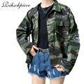 Rihschpiece 2016 Otoño Chaqueta de Camuflaje Mujeres Básica Abrigos Harajuku Bordado Verde Del Ejército Abrigo Chaquetas RZF283