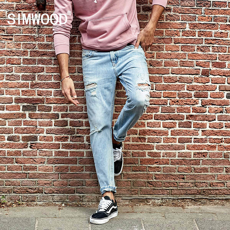 SIMWOOD Jeans men 2017 Autumn New ripped jeans Male 100% Cotton Skinny Slim Fit Biker Hole High Quality Plus Size  NC017013 2016 handmade crystal chian bead black evening clutch bags purse prom wedding women dinner bag beg bolsa feminina aj sac a main