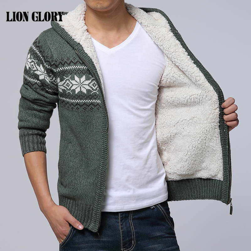 2016 Autumn And Winter Sweaters Printing Knitted Cardigan Jacket Plus Thick Velvet Hooded Sweater Jacket Men Sweaters Large Size