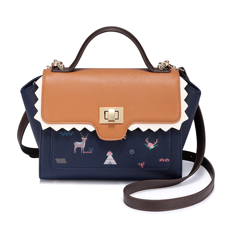the package bag female 2017 autumn and winter fashion print handbag wild shoulder bag hit color wings tide small trapeze bags every new small package special offer hit color box package fashion lock small bag shoulder bag in early autumn