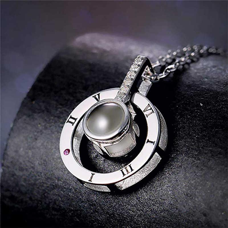 Je t'aime en 100 langues collier sculptures microscopiques lumière projetée pendentif collier pour amoureux bijoux de mode cadeaux
