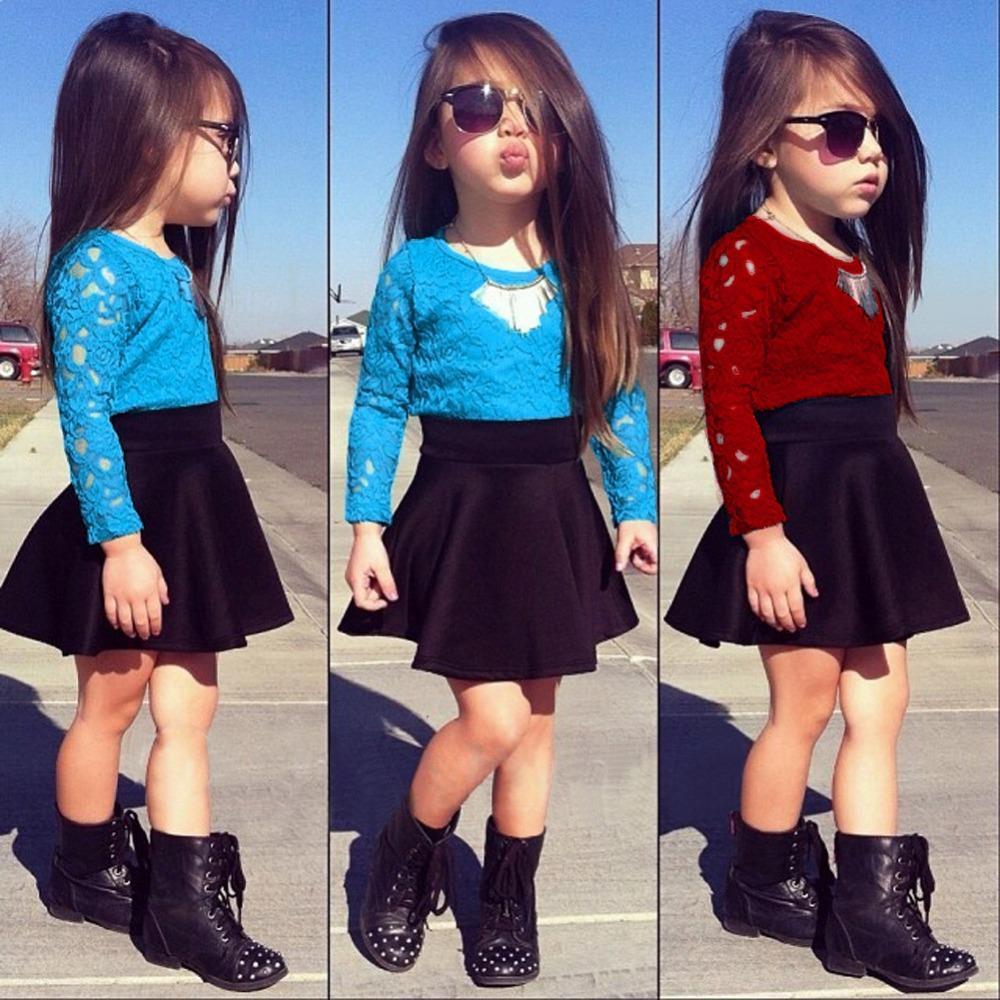 5200189fc Azul   rojo 2015 nueva moda niña ropa niños ropa baby Girls ropa encaje o  cuello de manga larga tops Skirt Clothes Set 2 unids fijó 582 en Sistemas de  la ...