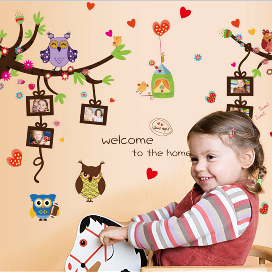 Owl Photo Frame Tree Wall Stickers For Kids Room Removable Cartoon Vinyl Decor Decals Waterproof Wall Mural For Nursery Bedroom