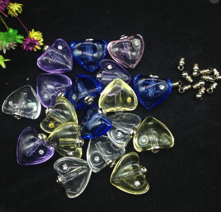 500pcs wholesale screw cap heart vial pendant Crystal Perfume bottle Necklace zircon Pendant charms name or