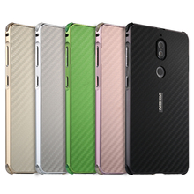 Nokia7 Case Luxury Aluminum Metal Frame Bumper For Nokia 7 Carbon Fiber Back Cover for Phone 5.2