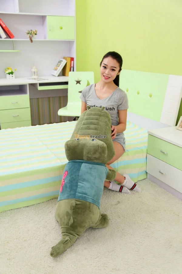 Fancytrader Cute Toy 51'' / 130 cm Giant Plush Stuffed Green hippo Crocodile Alligator, 2 colors available Free Shipping FT90121 fancytrader 2015 new 31 80cm giant stuffed plush lavender purple hippo toy nice gift for kids free shipping ft50367