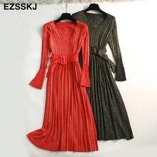Spring autumn Elegant Shiny maix Pleated sweater Dress Women flare Sleeve V Neck female sash Glitter luxury long knit Dresses