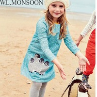 Robe Reine Des Neiges Kids Dress Long Sleeve 2016 Elsa Christmas Dress Girls Clothes Striped Animal