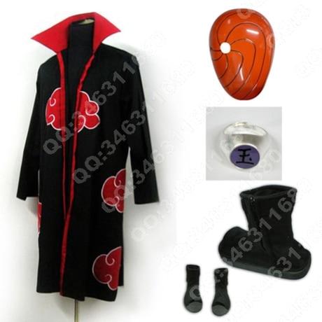 Free DHL Shipping Naruto Uchiha Sasuke Uniform Cosplay Costumes cape coat+shoes+mask full set