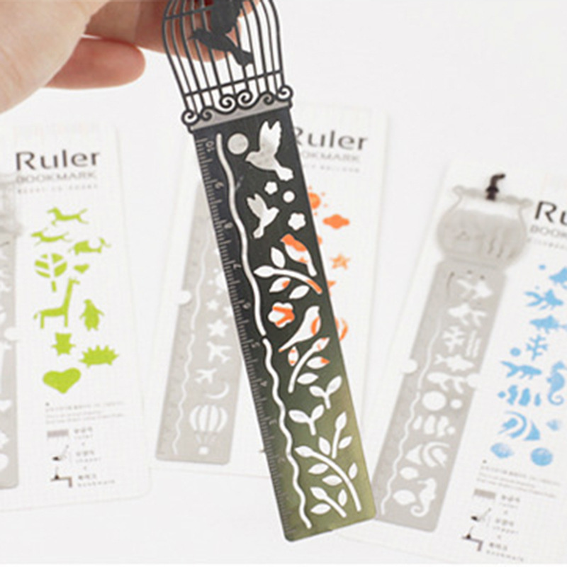 ZOCLOT 1 Piece Paper-cut Style Good Point Rule Simply Drawings Draw Ruler Multifunctional Metal Bookmark For Decoration Gift