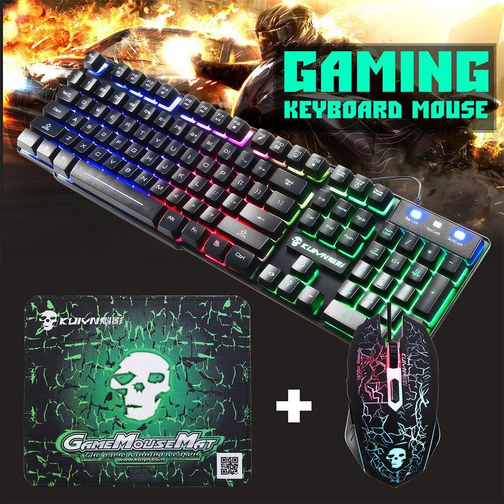 USB Office Rainbow Backlight Keyboard Mouse Set Mechanical For PC Laptop Durable Desktop <font><b>Gaming</b></font> Stylish Combo Ergonomic Home