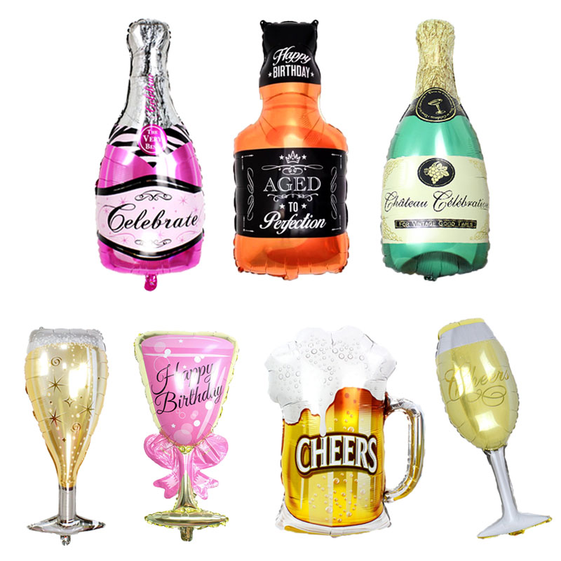 Large beer cup Balloons Gold Whiskey Wine Bottle Shape Foil ballons Inflatable helium globos birthday party decorations adult
