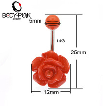 BODY PUNK Hot Clear Surgical Trendy Acrylic Rose Belly Buttoning Women Sexy  Body Piercing Jewelry Belly Button Rings NR 071