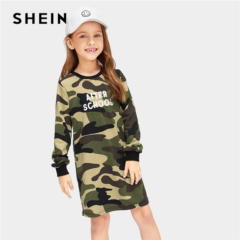 SHEIN Kiddie Letter Print Ringer Neck Camo Casual Short Girls Dress 2019 Spring Long Sleeve Kids Dresses For Girls Clothing black basic round neck super letter print tee