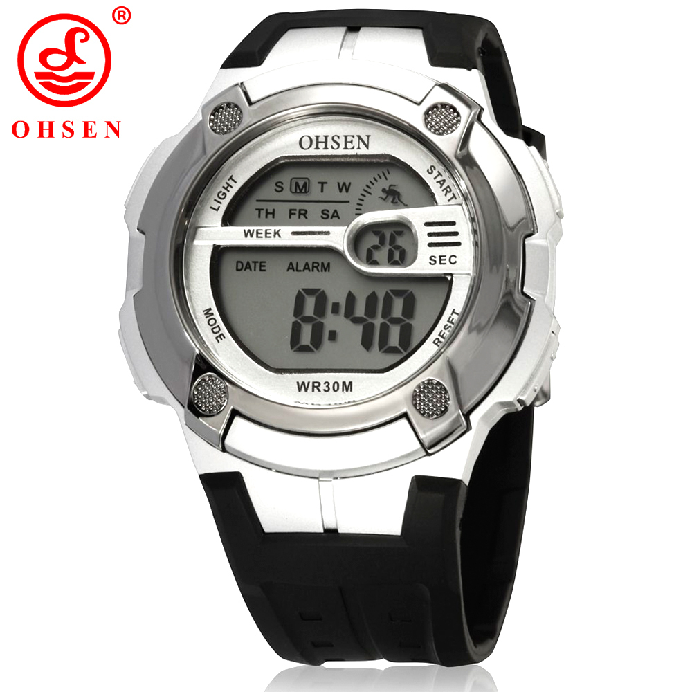 New ohsen boys alarm day date stopwatch digital sport watch men 3atm waterproof rubber wrist for Watches digital