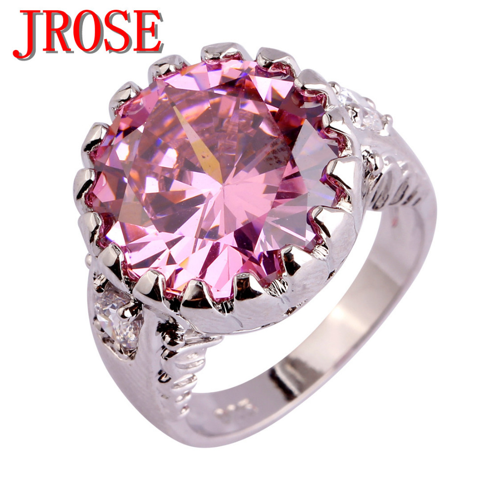 JROSE Engagement Fashion Style Pink & White CZ Silver Color Ring ...