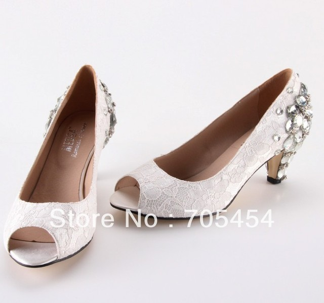 BS422 Free Shipping Open Toe Lace Low Heel Wedding Shoes Bridal Shoes  Evening Shoes With Big