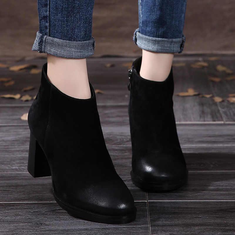 VALLU 2018 Yüksek Topuk Ayakkabı Kadın Çizmeler Yuvarlak Ayak Vintage El Yapımı Doğal Çocuk Süet Blok Tıknaz Topuklu Bayanlar yarım çizmeler