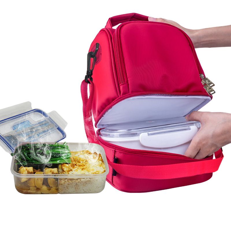 Novo design grosso quente térmico isolado caixas náilon almoço saco vermelho almoço sacos tote com zíper refrigerador lancheira saco de isolamento