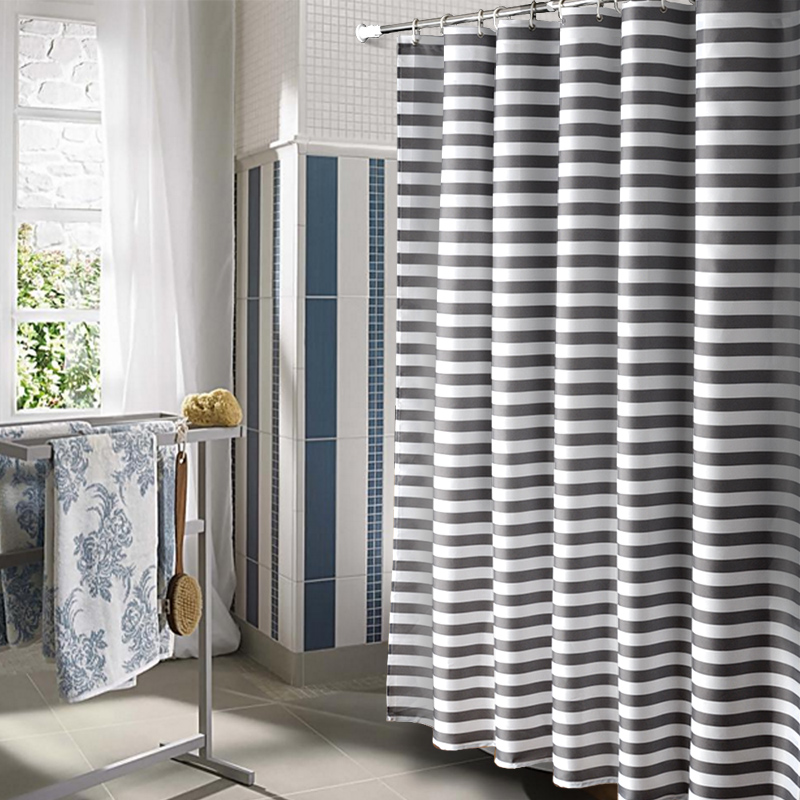 2018 New Multiple Sizes Modern Gray Striped Bathroom Shower Curtain Mildew Proof Waterproof Polyester Fabric
