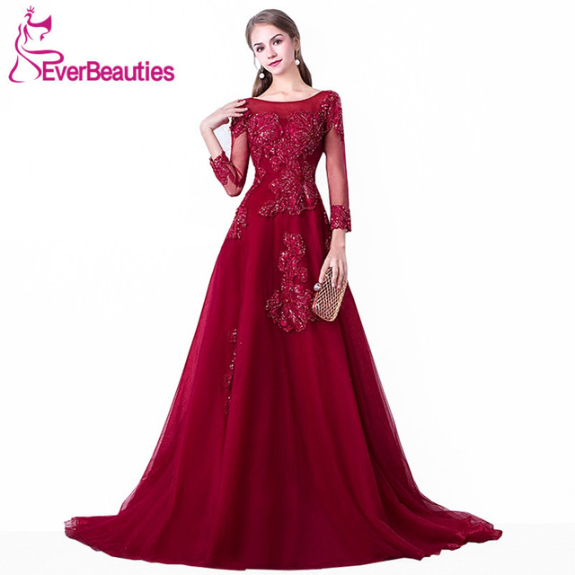 Abendkleider 2019 Wine Red Evening Dress Long Tulle with Lace Appliqued  Beaded Long Sleeves Evening Gown Robe De Soiree b25852905c3c