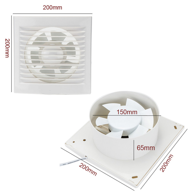 Mounted Ventilation Exhaust Fan Hole Size 150x150mm Kitchen Bathroom Window Ceiling Wall Toilet 15W 6