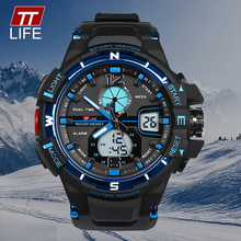 TTLIFE Men Business Fashion TS11 Analog Digital Sports Watch 30M Waterproof LED Wristwatch LED Display Gentleman Quartz Clock