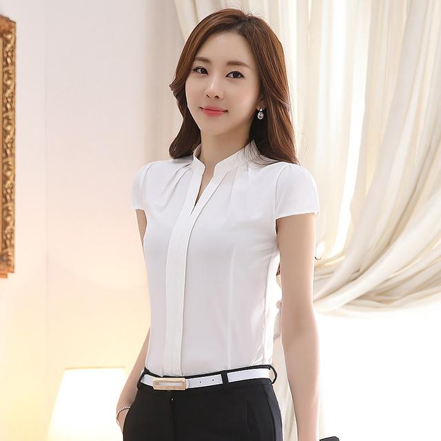 Chiffon blouses New 2017 Fashion Summer Slim women chiffon shirt Elegant Solid color Short Sleeve women tops brand shirts