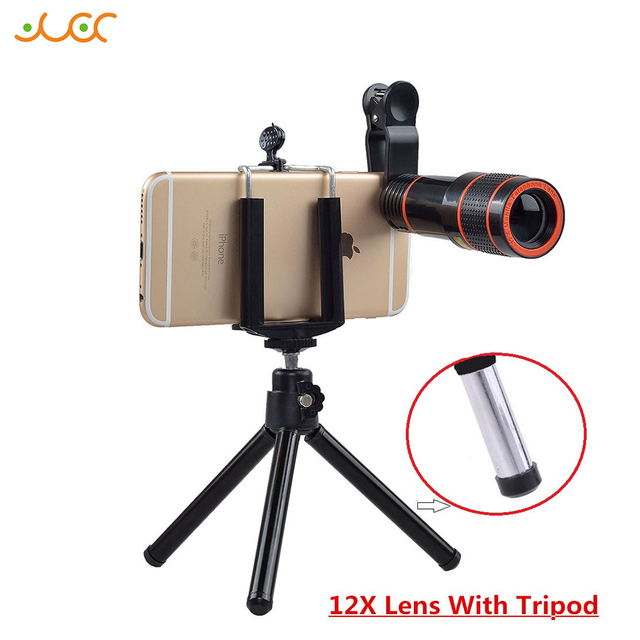 Akinger 4 in 1 HD camera Lens 12X Zoom Telescope Telescope Mobile Phone Lens for iPhone8 Samsung galaxy android Smartphones