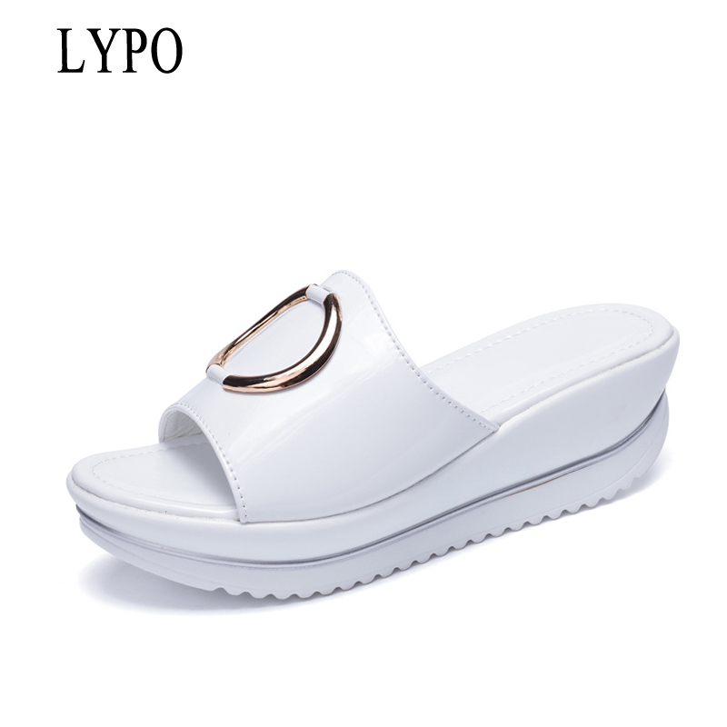 LYPO Sandals Women 2018 leather wedges slippers female thick bottom large size non-slip casual slippers comfortable Women shoes