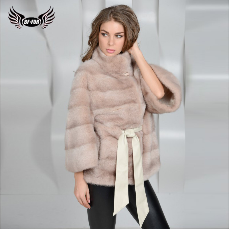 BFFUR 2019 New Arrival Real Mink Fur Coat Women Genuine Leather Outerwear Luxury Solid Support Customization Winter Women Coats