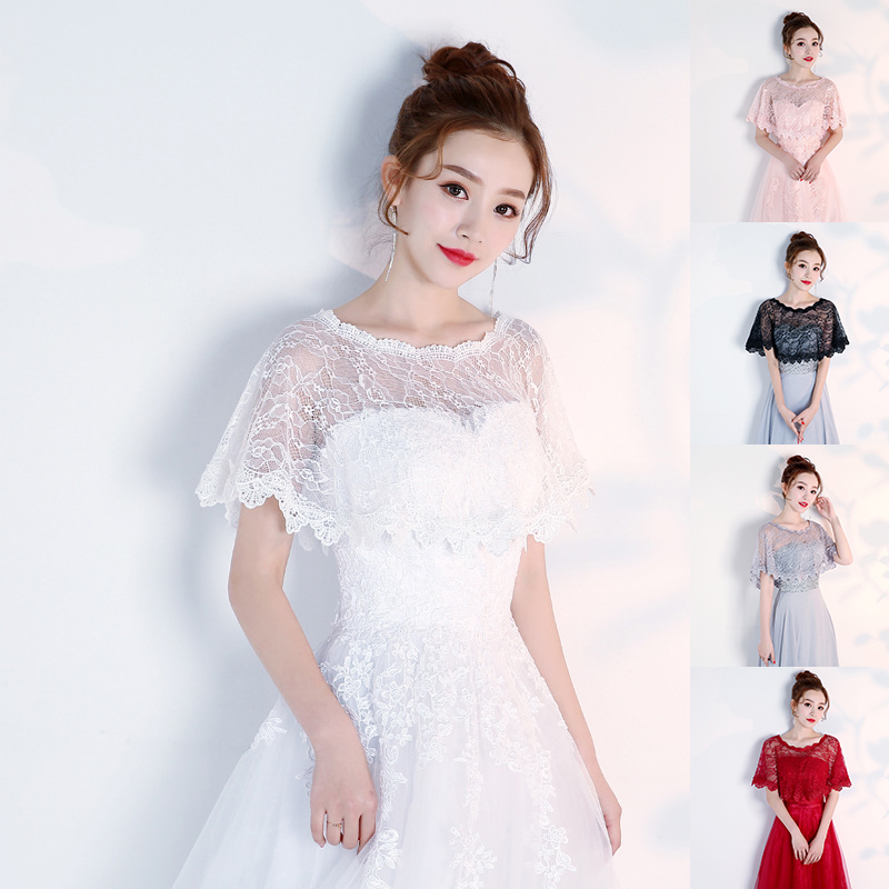 High Quality Lace Wedding Wraps Short Bridal Shawl Summer Lace Female Evening Party Capes Wedding Accessories Women's Jacket New