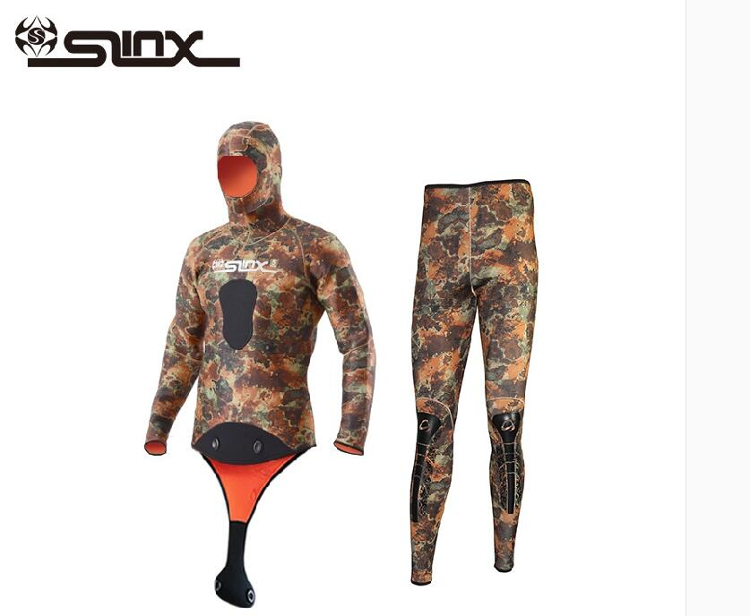 Slinx Wetsuit Diver Spearfishing Neoprene 2piece Hood Split-Body Camouflage with Cap