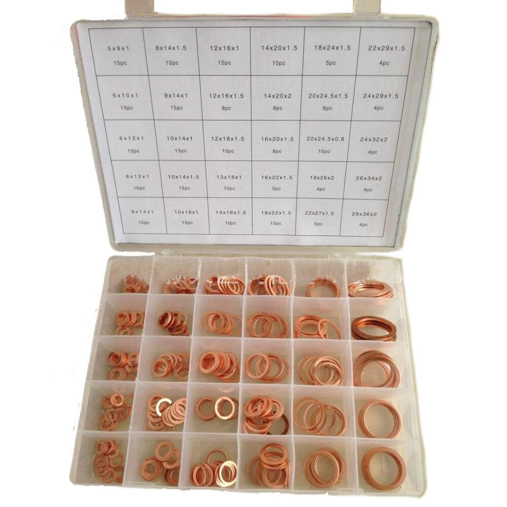 286 pcs 30 tailles Metric cuivre plat rondelle joints assortiment Set Kit