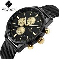 WWOOR Gold Mens Watches Top Brand Luxury Chronograph Sport Watch Men Waterproof Stainless Steel Strap Quartz Wristwatches Men
