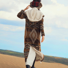 winter folk style retro wool tweed coat hooded female MZ14049