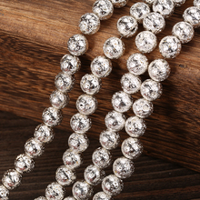Wholesale 4 6 8 10 12 MM Pick Size Silver Lava Round Loose Beads charm Bracelets Jewelry Making Accessories