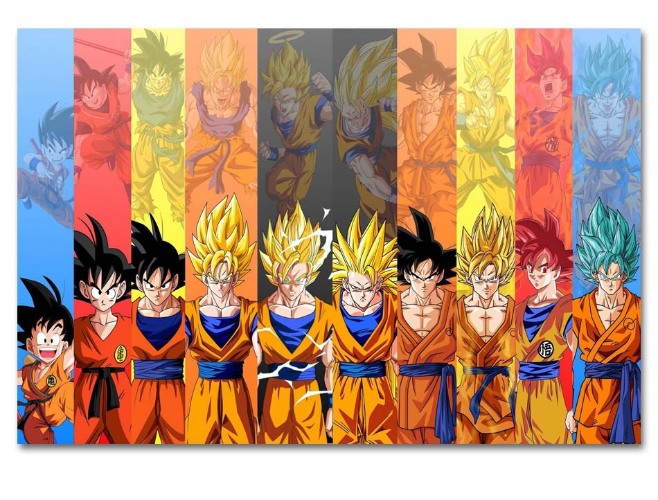 Us 9 0 Anime Japan New Goku Evolution Super Saiyan Dragon Ball Poster Wall Painting Art Hd Fabric Print For Home Decor Wall Picture In Painting
