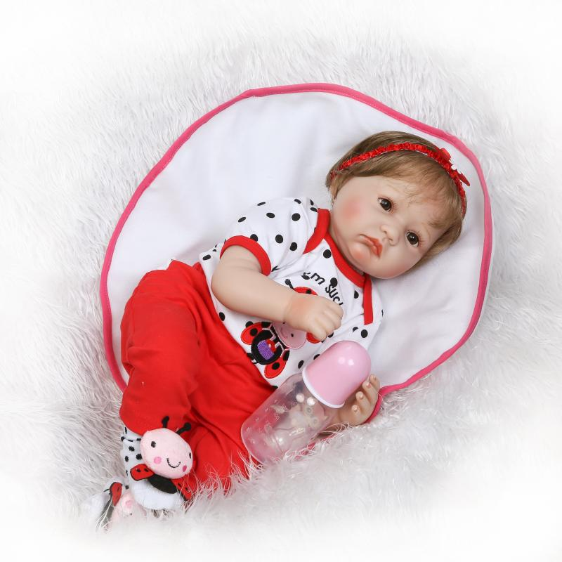 Pursue 22/55 cm Fashion Doll Reborn Silicone Vinyl Baby Doll Toys Lifelike Cloth Body Newborn Babies Dolls for Birthday Gift