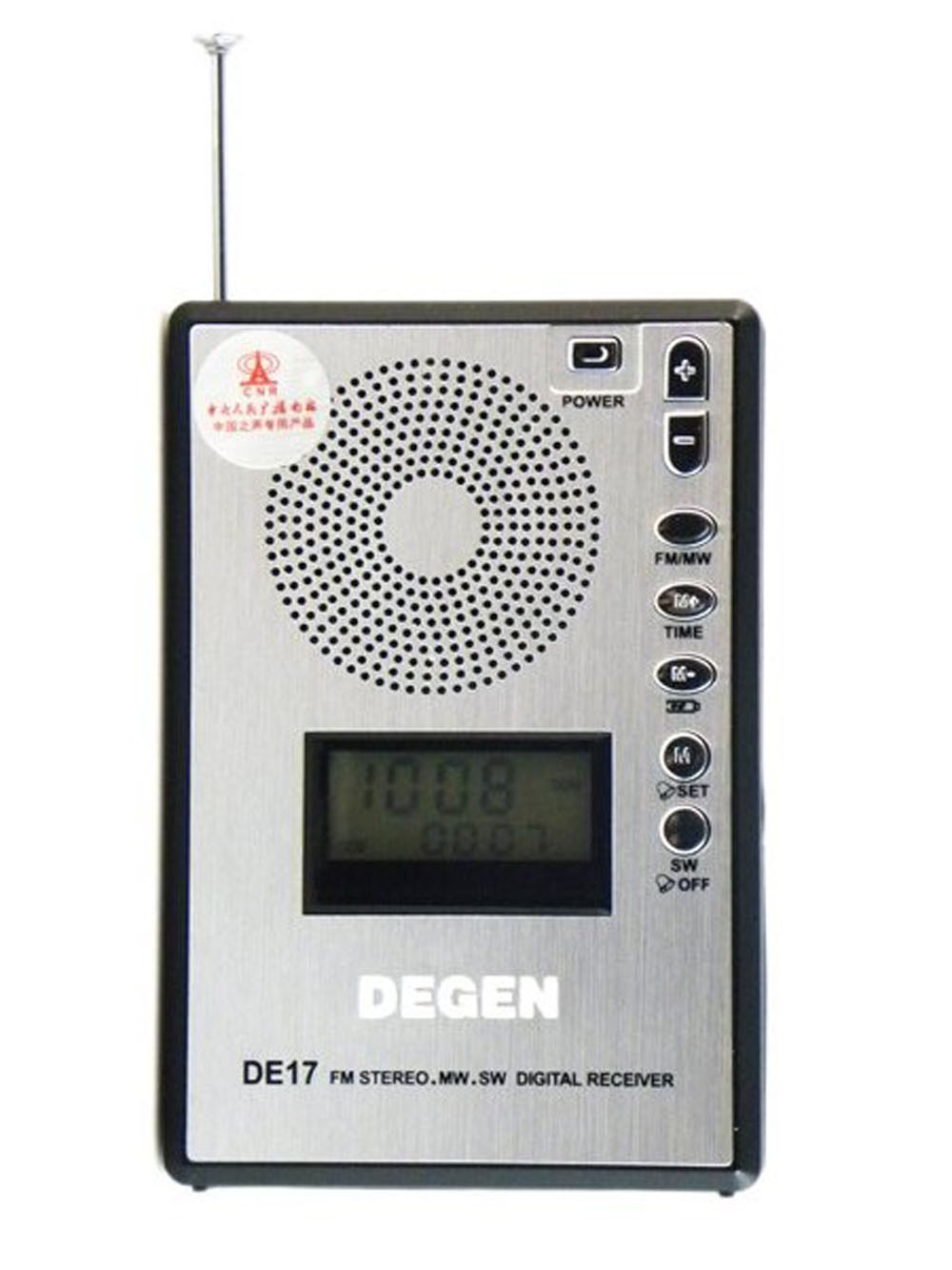Degen DE17 FM Stereo MW SW LED Radio DSP World Band Receiver ATS Alarm Clock Radio Telescopic Antenna Lock Key / Reset A0904A 5pcs pocket radio 9k portable dsp fm mw sw receiver emergency radio digital alarm clock automatic search radio station y4408