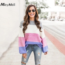 MayHall Autumn Pacthwork Oversized Sweater Women Knitted Casual Long Lantern sleeve Jumper Loose Pullovers abrigo mujer MH356