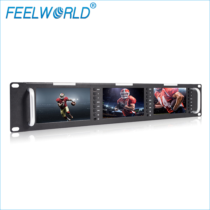Feelworld T51 Triple 5 Inch 2RU LCD Rack Mount Monitor with 3G-SDI HDMI AV Input and Output Broadcast Level Quality Monitors aputure digital 7inch lcd field video monitor v screen vs 1 finehd field monitor accepts hdmi av for dslr