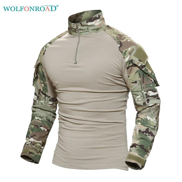WOLFONROAD hombres al aire libre senderismo Python camisetas militar táctico camiseta hombres camuflaje camisa para caza más tamaño