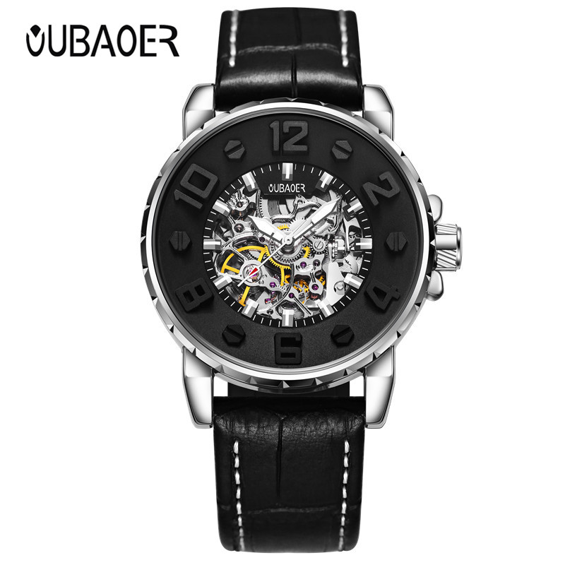 OUBAOER Luxury Brand Fashion Casual Men Watches Automatic Mechanical Watch Business Clock Leather Strap montre homme 2017 New read men s business automatic mechanical leather strap watch luxury brand fashion waterproof wristwatch r8009